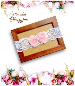Opaska biała z różową kokadrą